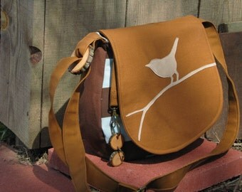 BIRD MESSENGER/ purse/ tote with adjustable strap, key chain,  and Inside Zipper Pocket