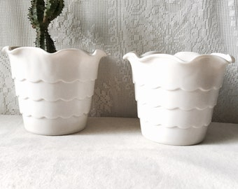 Vintage Milk Glass Scalloped Planter Ruffled Fluted White SALE