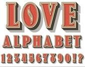 Valentines Alphabet Clipart Valentines Day Alphabet Clip Art Pink Alphabet Letters Scrapbooking Love Alphabet Romantic Alphabet Numbers
