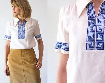 70s hippie blouse. needlepoint blouse. cream folk blouse. festival top - small to medium