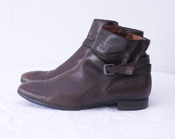 90s vintage ankle boots. brown leather boots. low heel boots - eur 40, uk 7, us 9.5