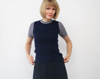 70s navy stripe top. skinny ribbed top. knit top - xs