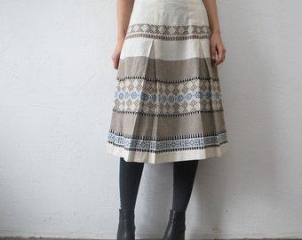 70s folk skirt. woven pastel skirt. 70s midi skirt - medium