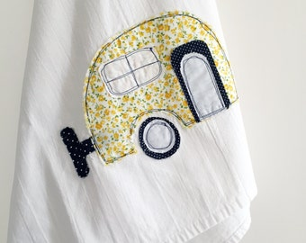 Flour Sack Tea Towel // Camper Applique // Yellow Ditsy Floral // Boho Style // Dish Towel // Housewares // Camping // Retro // Mother's Day