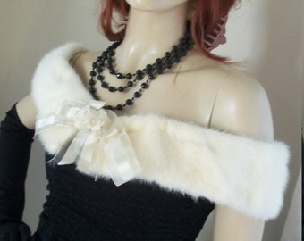 Antique 1920s 1930s Flapper White Mink Collar/Shawl with Organza and Rose Ribbon Front Detail One Size Fits Most