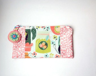 "Zipper Pouch, 5.25x9.25"" in Pink, Cream, Green, Mustard and Coral canning print with Handmade Felt Floral Zipper Pull, Pencil Case"