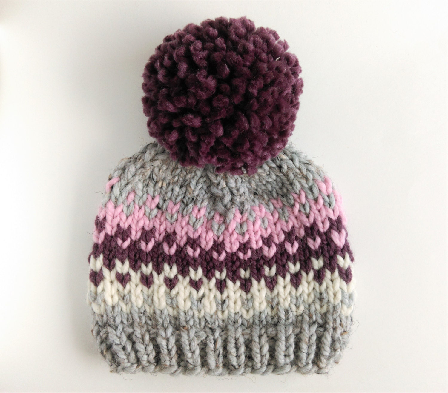 Knit Pom Pom Hat Pattern : Fair Isle Hat Pattern // Pom Pom Hat Knitting Pattern ...