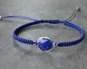 Arm Candy - Blue Lapis Gemstone Bracelet, Macrame Bracelet, Friendship Bracelet