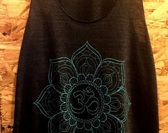 OM symbol Lotus Flower Art Print Tank Top  American Apparel  S