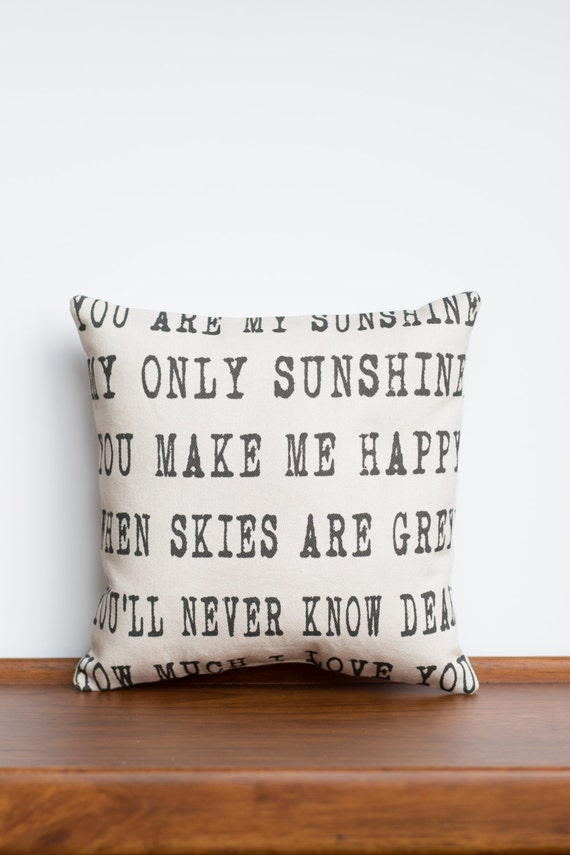 You are my Sunshine 8x8 Pillow | Children Song Lyrics | Home Decor Gifts Fabric | Custom Pillow | Unique Gift for Her | Gift for Grandparent