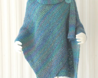 Handmade Hand Knit Shawl, Knitted Wrap Knit Cape Shades of Blue, Teal, Green Boucle' XL IN STOCK Plus Sizes Available