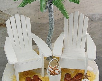 SALE! Set of 2 Small Adirondack Chairs For 5 Inch Beach Wedding Cake Top In Custom Wedding Colors