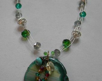 REDUCED* DC 110  Green Agate Pendant  Set