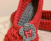 Women's Crochet Red Slippers | Red Slippers | Hand Crochet Slippers | House Shoes | Crochet Booties | Slippers