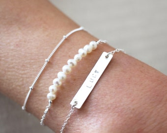 Silver Bracelet Set - Personalised Jewellery - Pearl and Sterling Silver