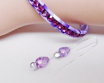 Vintage Sterling Silver Amethyst Thread Dangle Earrings Matching Floral Purple Enamel Embedded Rhinestone Bangle Bracelets
