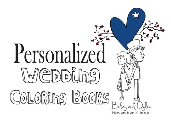 items similar to wedding coloring book personalized wedding coloring book kids wedding favor wedding coloring pages wedding activity book wedding pages on - Personalized Wedding Coloring Book