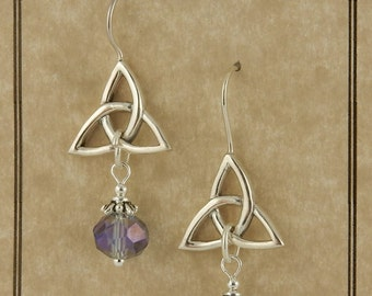 Sterling Silver Celtic Trinity Knot earrings with lilac Crystal Drops