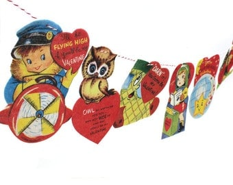 Vintage Valentine Card Garland - photo reproductions on felt - anthropomorphic Valentine cards - Valentine pun cards
