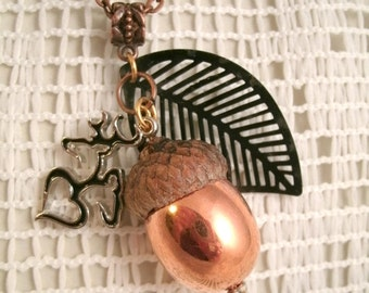 Buck and Deer Copper Enamel dipped Acorn Necklace