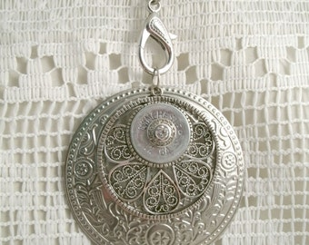 Winchester Pendant on Metal with glass Crystal Center
