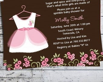 Little Girl Dress Baby Shower Invitation - Pink Baby Shower Invite - Dress Baby Shower Invite -Professionally printed *or* DIY printable PDF