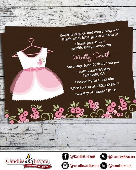 Little Girl Dress Baby Shower Invitation - Pink Baby Shower Invite ...