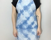 handmade indigo dyed shibori full apron