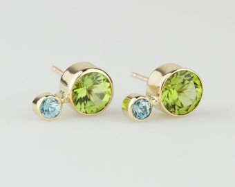 Natural Peridot and Blue Zircon in 14k Rose or Yellow or White Gold Stud Earrings - Solid Gold Post Pair - Ear Climbers - Statement Earrings
