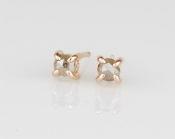 Artemis Warm Gray Rose Cut Diamond Claw Prong Studs -  Solid 14k Rose or Yellow or White Gold Earrings - Genuine Diamond April Birthstone