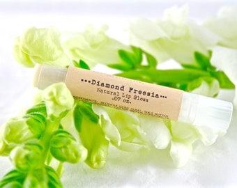 Diamond Freesia Natural Lip Gloss - Natural Cosmetics - Shimmer Lip Balm - Gifts Under 10 - Stocking Stuffer - Secret Santa