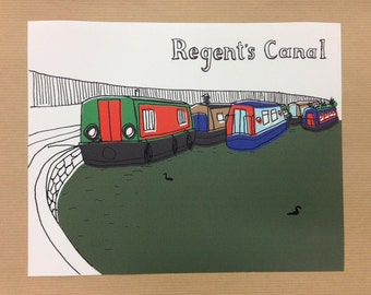 "Regent's Canal Illustration Digital Print 10x8"" (25.4x20.3cm)"