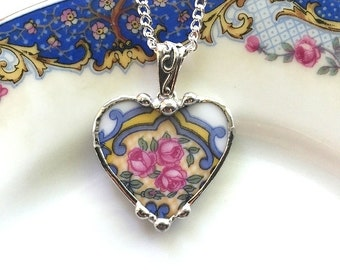 Recycled china heart. Broken china jewelry heart pendant necklace fancy antique china pink rose on blue