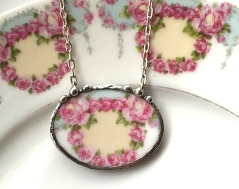 Broken china jewelry - antique pink ring of roses wreath,  porcelain necklace made from a broken plate