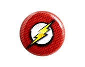 "The Flash Button, Small Badge, 1.25"" Geek Button, Superhero Badge - Z12"