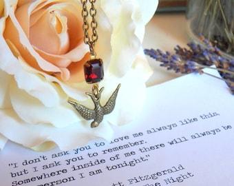 ON SALE - Journey Necklace, Antiqued Brass Diving Sparrow Keepsake Pendant, Sparkling Vintage Glass Garnet Rhinestone, Jewelry by HoneyNest
