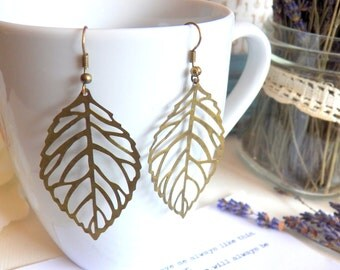 Leaf Earrings, Dark Antiqued Brass Detailed Leaf Charms, Woodland Large Earrings, Gift for Women, Handmade Jewelry Gifts by HoneyNest