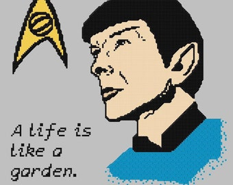 Leonard Nimoy Spock Memorial Cross Stitch Color Pattern