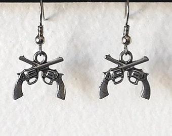 Metal Little Guns Charm Earrings