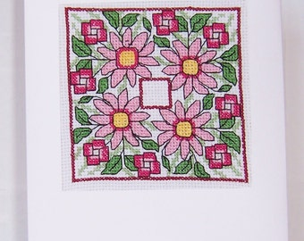Hand Stitched Pink Flowers  Completed Cross Stitch  Card, Handmade Greeting Card, Cross Stitch Birthday card, Notelet