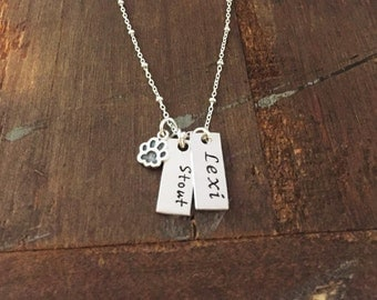 Sterling Silver Small Paw Necklace - Animal Name Necklace - Cat Dog