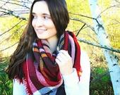 SALE - Blanket Scarf, Plaid Scarf, Oversized Scarf, Plaid Blanket Scarf, Red Plaid Scarf, Winter Accessories, Winter Scarf