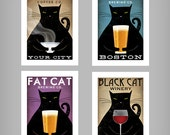 FREE CUSTOMIZATION Black Cat Brewing Company Black Cat Graphic Art Illustration print SIGNED Beer Wine Coffee Tea