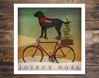 FREE Personalization Labrador Black Dog Bicycle Co. ILLUSTRATION Print inches signed