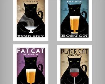 FREE CUSTOMIZATION Black Cat Brewing Company Black Cat Graphic Art Illustration print SIGNED Beer Wine Coffee Tea