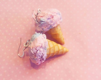 Polymer Clay Cotton Candy, Bubblegum, Pastel, Ice Cream Cone Hook Earrings, Food Jewelry