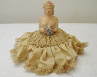 Vintage Chalkware Pincushion Doll - Half Doll