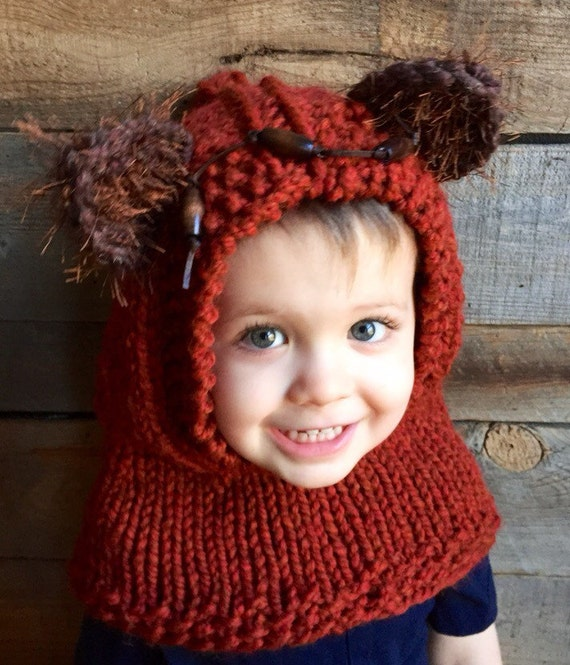 Ewok Hood Kids Fall Winter Hat Knitted Ewok Star Wars