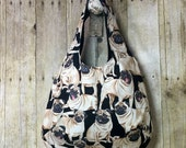 Hobo Tote Bag Pug Dogs One of a Kind Handmade