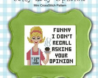 Sassy Lady Opinion Retro Cross Stitch PDF Chart